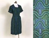 1940s novelty print dress // Movin on Up //vintage cotton dress