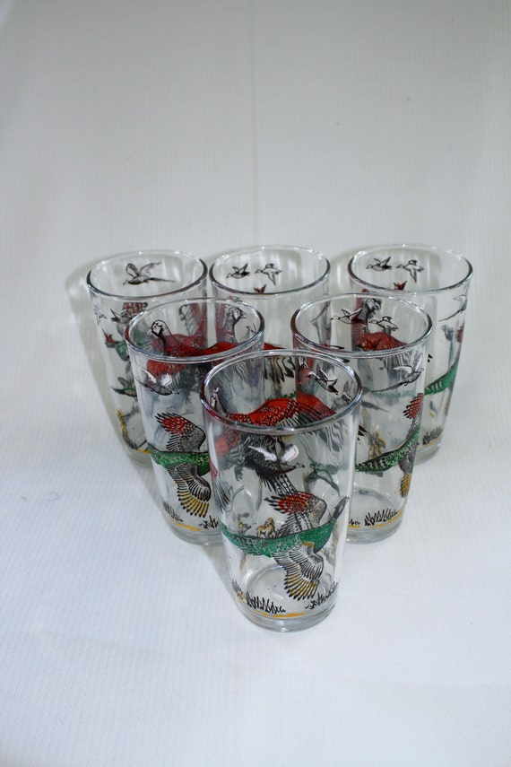 pheasant glasses // set of 6 highballs // hunting scene // midcentury bar ware