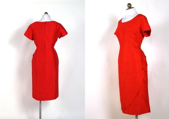 vintage Cheongsam silk wiggle dress / Flame Tangerine / 1960s size medium large