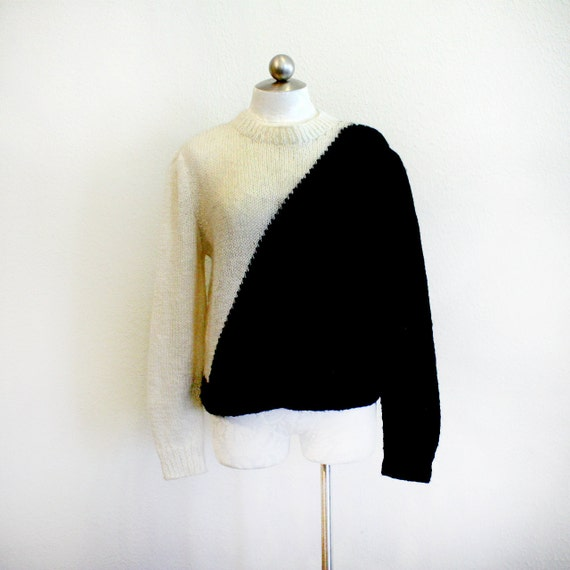 asymmetrical knit sweater // black or white // 1980s vintage size small - medium