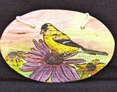 Goldfinch on a Purple Coneflower Rustic Wood-burning