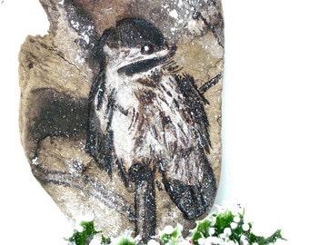 Chickadee WoodBurning Art on Driftwood