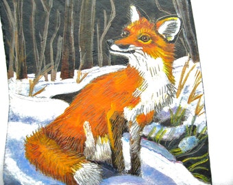 Red Fox Natural Slate  Etching in Moonlit Winter Woods