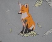 Fox Fabric, orange fox on gray/green background, 1 FQ