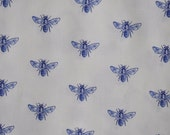 Bee Fabric, Blue Bees on White, 1 FQ or more