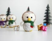 Customized Needle Felted Christmas White Owl Ornament - MADE TO ORDER