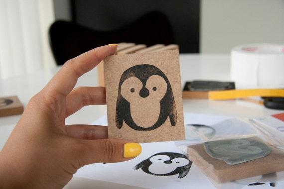 Reserved for Ingun - Hand Carved Penguin Stamp