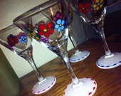 Hand Painted Martini Glasses with Flower Power Design