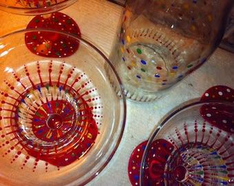 Festive Hand Painted Margarita Glasses