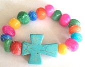On Sale--Turquoise Cross Bracelet