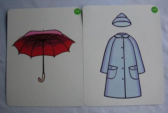 2 Vintage Picture Card Set Umbrella Raincoat