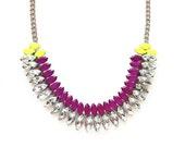 The Rainey Necklace - Neon Purple & Neon Yellow