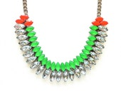 Neon Green and Neon Orange Hand-painted Crystal Necklace