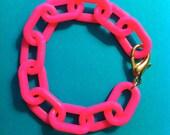 Neon Pink Enamel Chain Bracelet