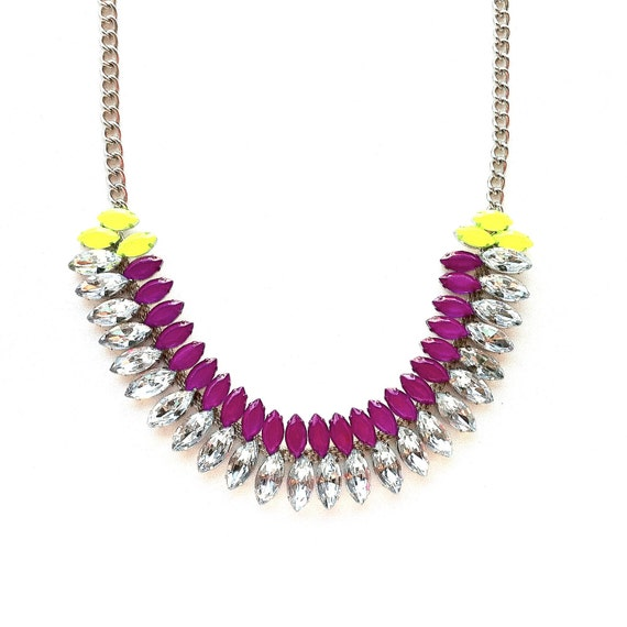 Neon Purple and Neon Yellow Hand-painted Crystal Necklace