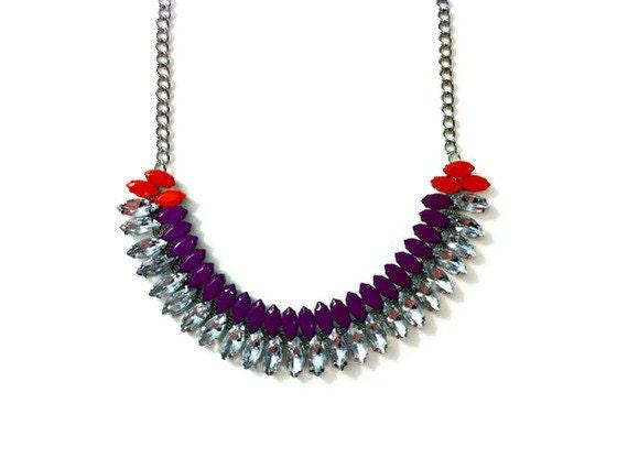 The Rainey Necklace - Neon Purple & Neon Orange