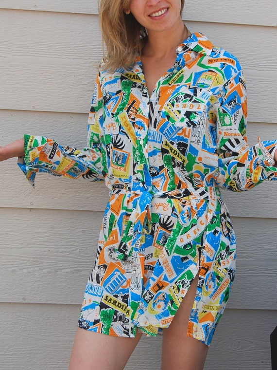 Sale 80s  Spring Fashion Vintage cotton  women shirt  blouse Size S  by J.Crew . Ready to ship from Colorado USA