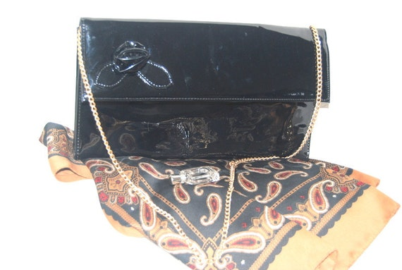 50s Vintage Mad Men black faux leather Ande purse, rosette decoration.Holiday Accesories Spring Fashion Ready to ship from Colorado USA