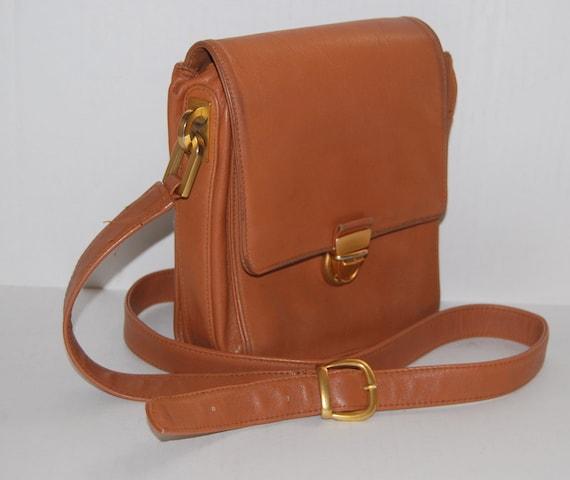 70s Carla Marchi designer brown tan  leather small  Satchel messenger shoulder crossbody bag  ships from Colorado USA