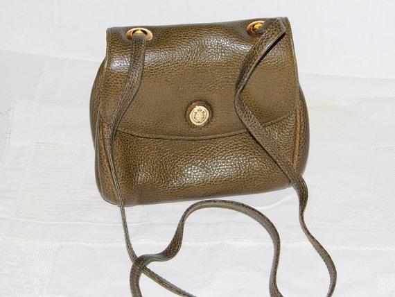 80s Liz Claiborne designer olive green  leather  Satchel messenger shoulder crossbody bag  ships from Colorado USA