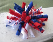 Patriotic KORKER bow -FIREWORKS- 4th of July - July 4th - korker bow - girls hairbow  - cupcake qt - korker - spiked bow
