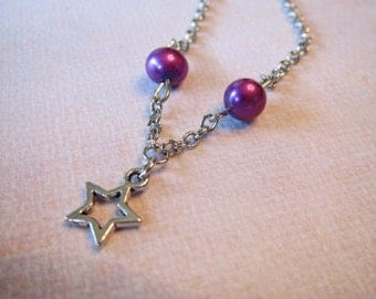 Silver Star charm with Purple pearls