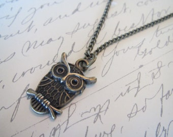 Antique Bronze Owl Charm with Chain