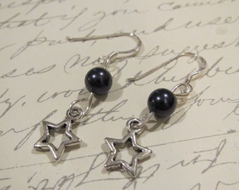 Silver Star earrings with Dark purple pearls