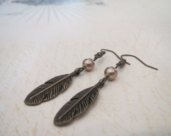 Antique Bronze Feather charm earrings with gold pearls