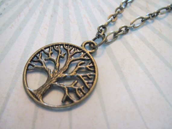 Antique Bronze Tree of Life Charm with Chain