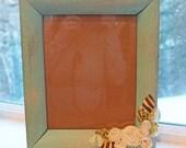 8x10 Aqua / Turquoise Frame, Vintage finish with fabric flowers
