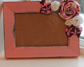 4x6 Frame- Pink Frame with fabric flowers, Amy Butler
