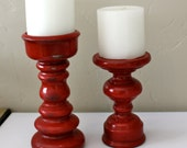 Candle Holders- Red vintage finish- Made to Order