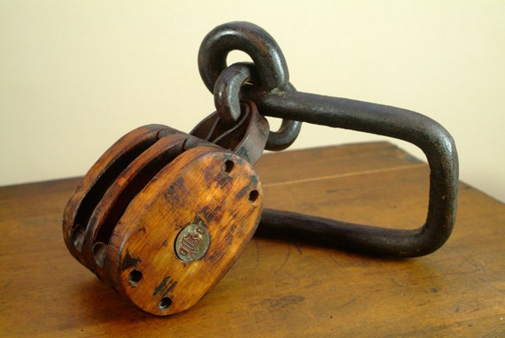 Antique Industrial Double Pulley