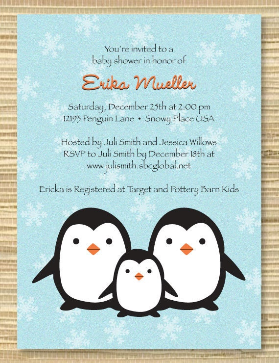 similar to custom digital baby shower invitation penguin on etsy
