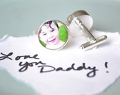 Custom photo cufflinks - use your own photo image - fathers day, daddy, dad, gift for him, groom, groomsmen, wedding, birthday, men, father