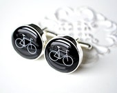 Bike Cufflinks - Stainless Steel Black and White Bicycle Cuff Links
