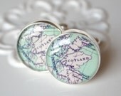 Map Cufflinks - Scotland Map Cufflinks - vintage antique map - Keepsake gift for wedding day, birthday or fathers day