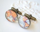 World Map Cufflinks - vintage map antique brass keepsake cuff links