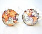 EXPRESS SHIPPING Vintage World Map Cufflinks - antique brass keepsake gift for wedding day groom, groomsmen, husband