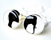 Good Luck Elephant Silhouette Cufflinks - keepsake gift for him on wedding day or any day - black and white cuff links