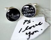 PS i love you - always and forever personalized name, date or quote cufflinks - keepsake groom gift - black and white