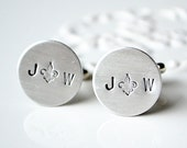 Personalized initial hand stamped fleur de lis cufflinks - you heart me keepsake cufflinks for the groom and groomsmen