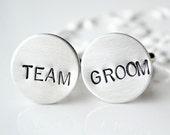 Team Groom Hand Stamped cufflinks -keepsake cufflinks for the groom and groomsmen