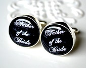 Father of the Bride Cufflinks Script Font - Wedding Day Gift for your father
