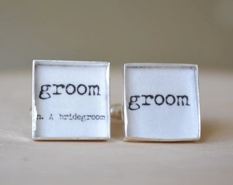 Vintage print Groom definition cufflinks