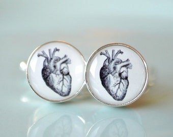 Vintage heart anatomy cufflinks, timeless mens jewelry keepsake gift, classic cuff link accessories