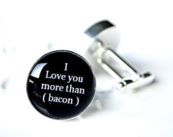 I love you more than bacon cufflinks - keepsake gift for groom, father, men wedding day or anniversary