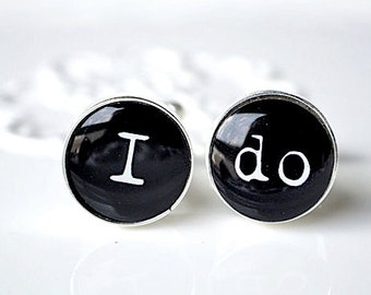 I DO cufflinks - vintage print font - keepsake gift for him
