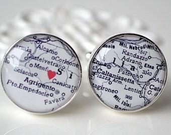 Original Heart It black and white map custom cufflinks by White Truffle - vintage map keepsake gift
